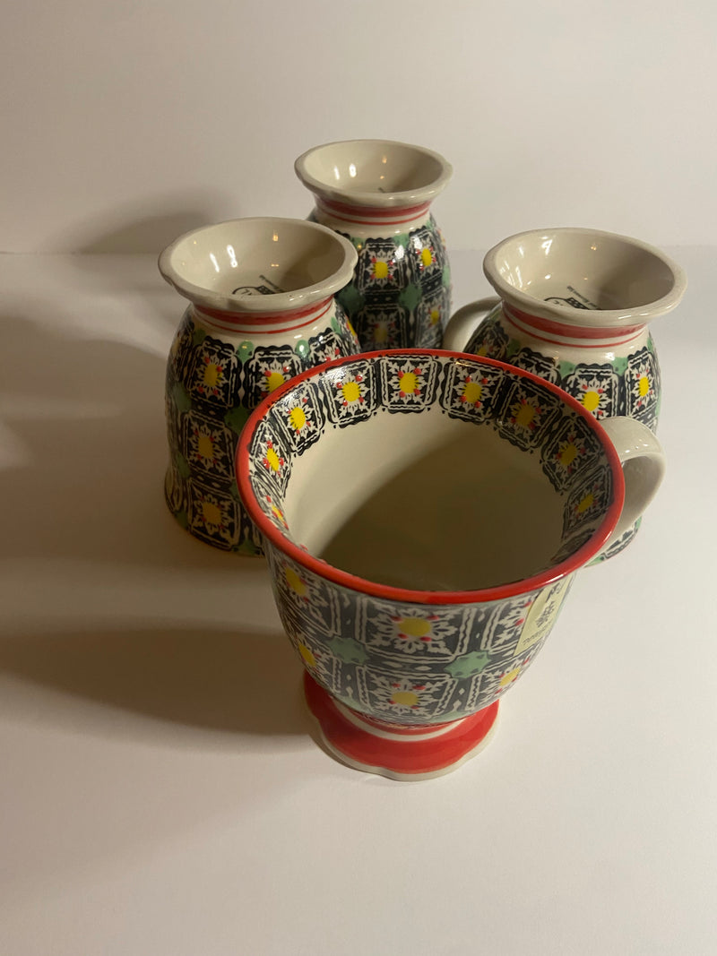 Hand Painted LouLong Porcelain Mug Set of 4