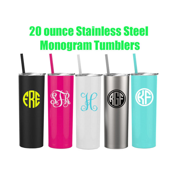 Skinny Steel Monogram Cup, Personalized Tumbler, Steel Cups with Straw, Monogram Present, Birthday Gift, Gift Ideas,  Employee Gifts,