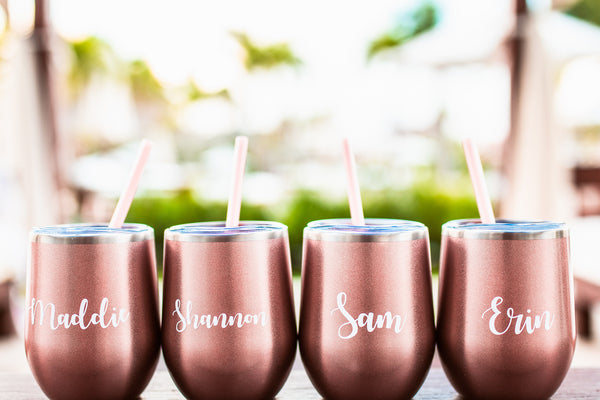 Personalized Wine Tumbler - Steel Wine Cups - Personalized Tumbler with Straw - Bridesmaid Tumblers - Rose Gold Cup with Straw - Custom Cup