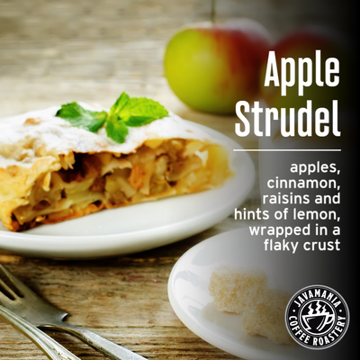 Apple Strudel apples cinnamon raisins and hints of lemon wrapped in a flaky crust