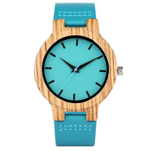 100% Bamboo Blue Casual Clock