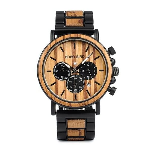 Men Military Quartz Timepieces Watches Wood Steel Band