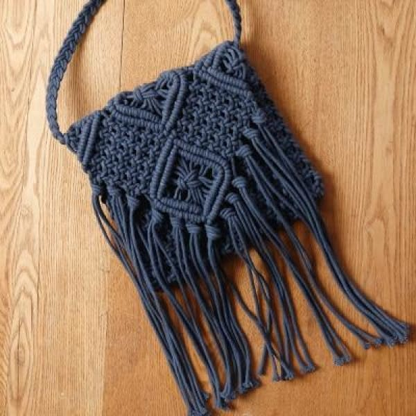 Bag Cotton Handbag Handcrafted Handmade dark blue / Mini(Max Length<20cm)