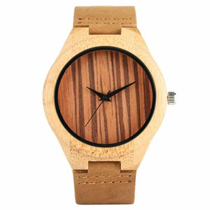 2019 Bamboo BlackCoffeeGreen Clock de Brown Stripe Dial