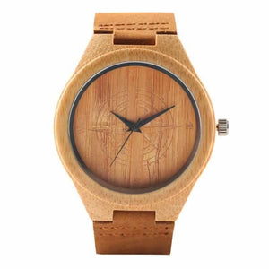 2019 Bamboo BlackCoffeeGreen Clock de Compass Dial