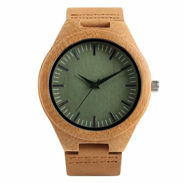 2019 Bamboo BlackCoffeeGreen Clock de Green Dial-173