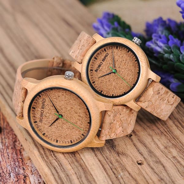 Analog Bamboo Clocks Couple Display