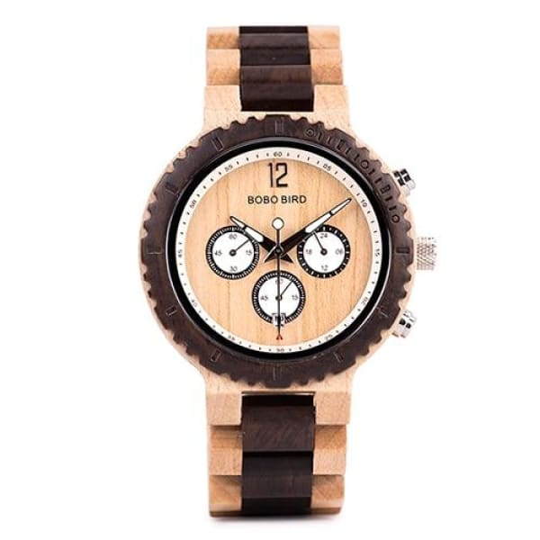 Chronograph for Gift Great Luxury R08-1 Wood Band