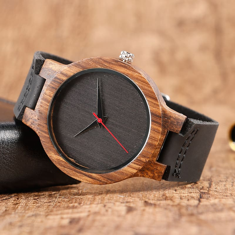Top Gift BlackCoffeeGreen Dial Natural Bamboo Wood Watch Men Women Genuine Leather 2017 Wooden Clock Male hour Reloj de madera 2017 Christmas Gifts (9)