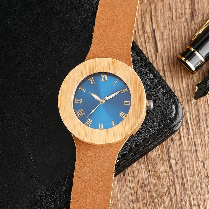 Creative Blue Face Wristwatch Natural Bamboo Wooden Watches Unique Cool Handmade Genuine Leather Band Women Quartz-watch Female
