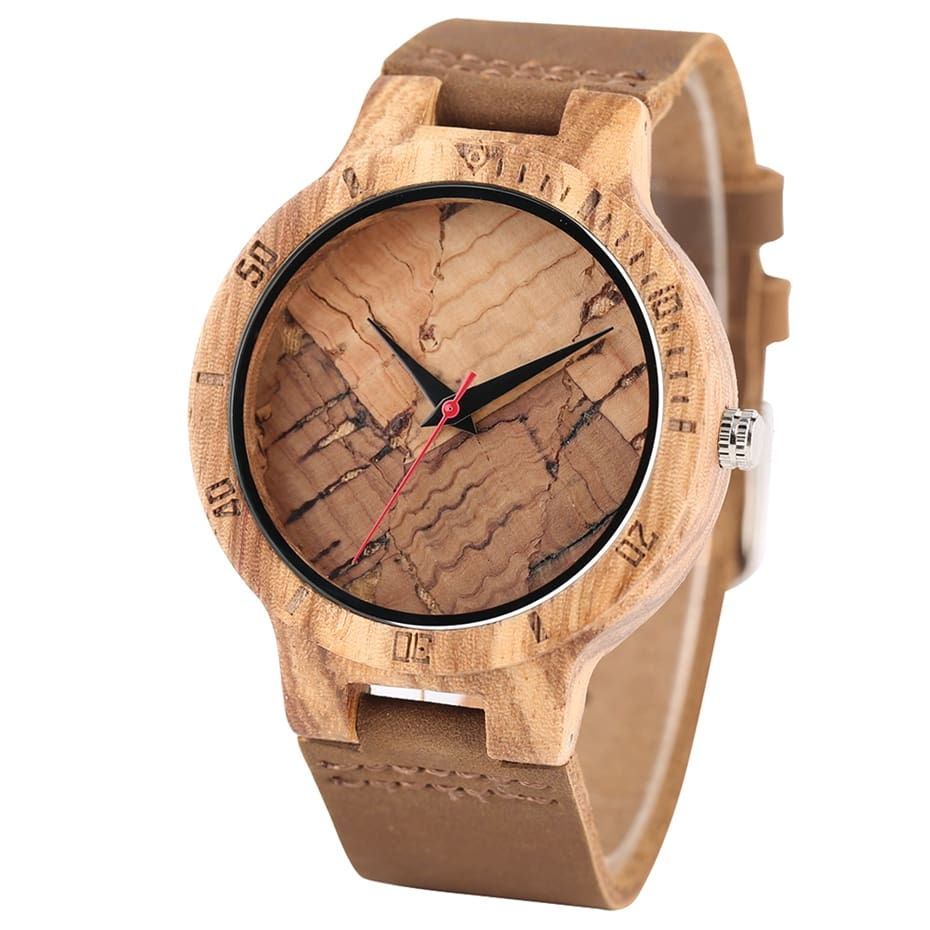 Wooden Watch Men's Unique Cork SlagBroken Leaves Face Dial Zebra Wood Quartz Clock Male Women Genuine Leather Band Wristwatches 2017 Christmas Gifts (17)