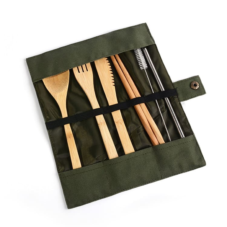 7pcs Portable Dinnerware Set Japanese Bamboo Cutlery Fork Knife Spoon Chopsticks Travel Teaspoon Spoon Straw Kitchen Tableware