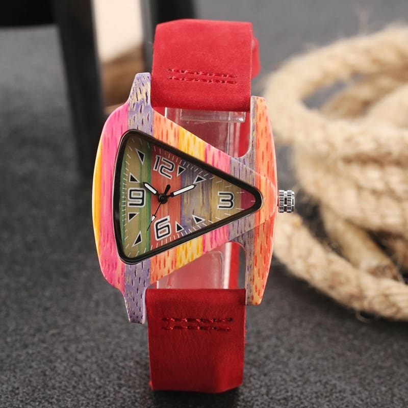 Unique Colorful Wood Watch Creative Triangle Shape Dial Hour Clock Women Quartz Leather Bracelet Watch Women's Wrist Reloj Mujer (40)