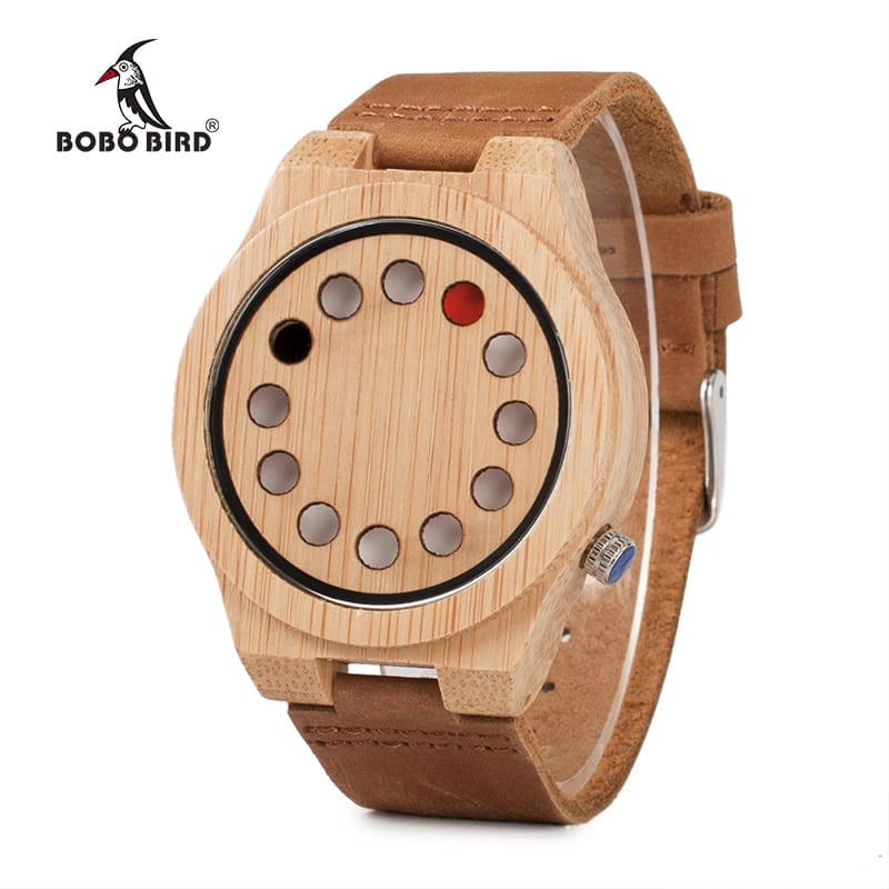 Luxury Quartz Mens Watches Casual Bamboo Wood Wristwatches Quartz-Watch