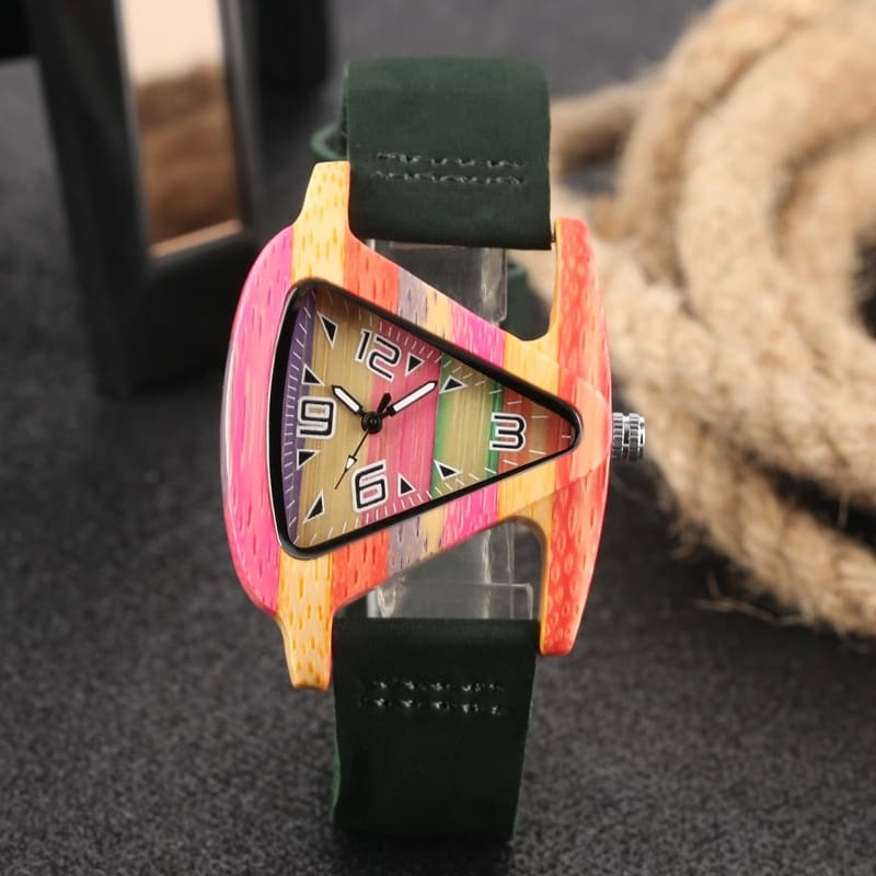 Unique Colorful Wood Watch Creative Triangle Shape Dial Hour Clock Women Quartz Leather Bracelet Watch Women's Wrist Reloj Mujer (30)