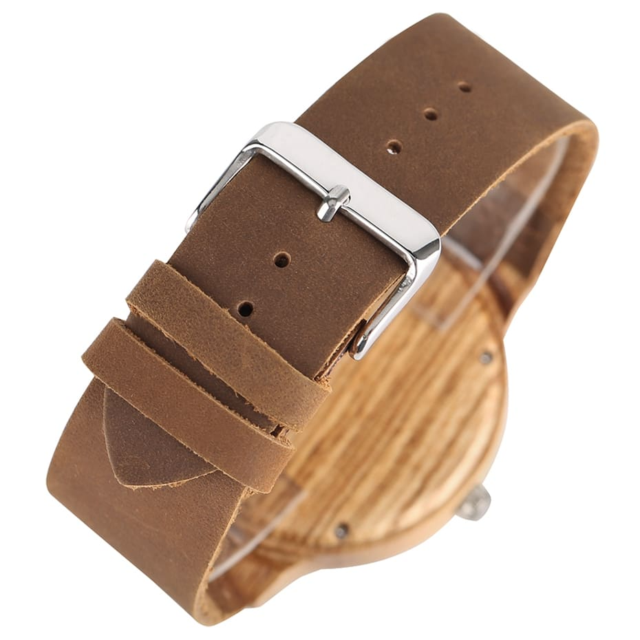 Wooden Watch Men's Unique Cork SlagBroken Leaves Face Dial Zebra Wood Quartz Clock Male Women Genuine Leather Band Wristwatches 2017 Christmas Gifts (6)