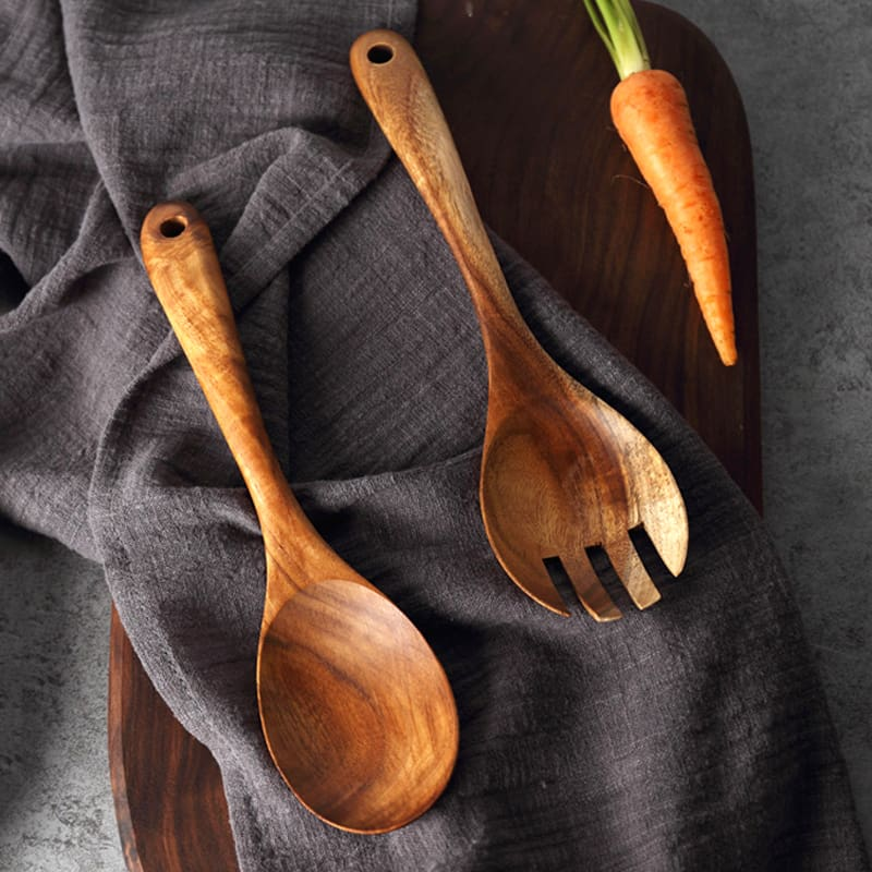 Set of 2 Serving Spoon & Fork Set Large Wood SaladFruitDishes Serving Fork Spoon, Wood Cutlery Kitchen Cooking Utensils (2)