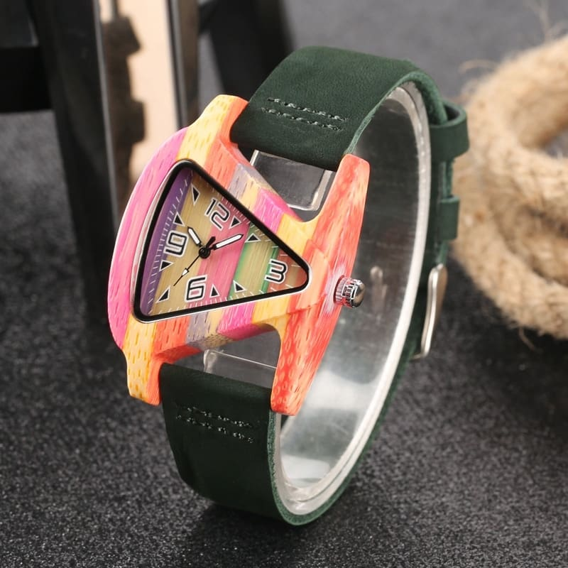 Unique Colorful Wood Watch Creative Triangle Shape Dial Hour Clock Women Quartz Leather Bracelet Watch Women's Wrist Reloj Mujer (31)