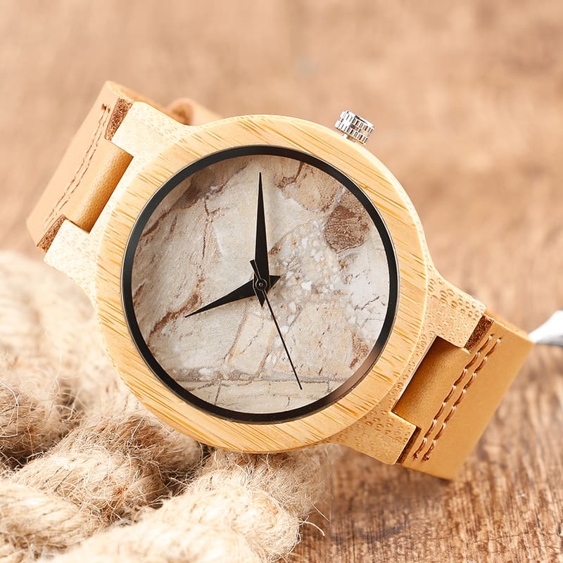 2017 Creative Gifts Handmade Unique Cloud Marble Face Bamboo Quartz Wristwatch Genuine Leather Bangle Nature Wood Men Women Clock (22)