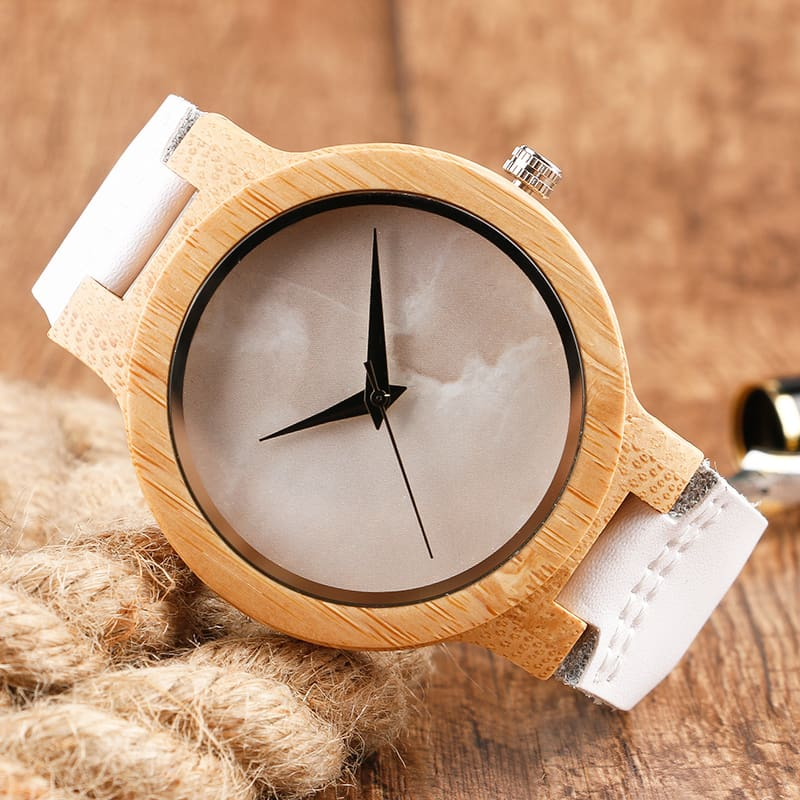 2017 Creative Gifts Handmade Unique Cloud Marble Face Bamboo Quartz Wristwatch Genuine Leather Bangle Nature Wood Men Women Clock (34)