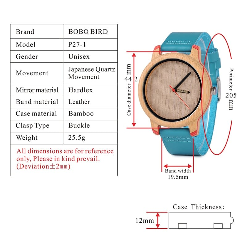 Bamboo Watches for Men and Women Luxury Quartz Wristwatches with Leather Straps In Wooden Gifts Box