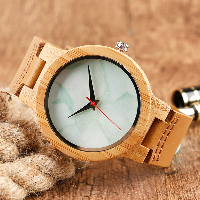2017 Creative Gifts Handmade Unique Cloud Marble Face Bamboo Quartz Wristwatch Genuine Leather Bangle Nature Wood Men Women Clock (46)