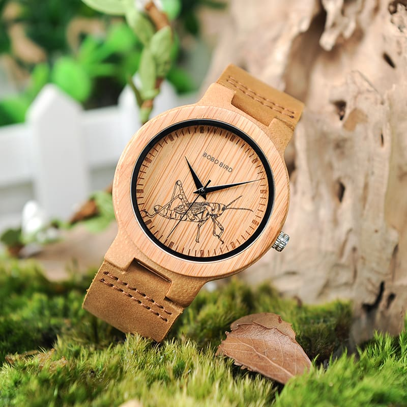 Wooden Lifelike Print Dial Face Quartz Wrist Watches Fashion 3D Visual Timepieces as Gift