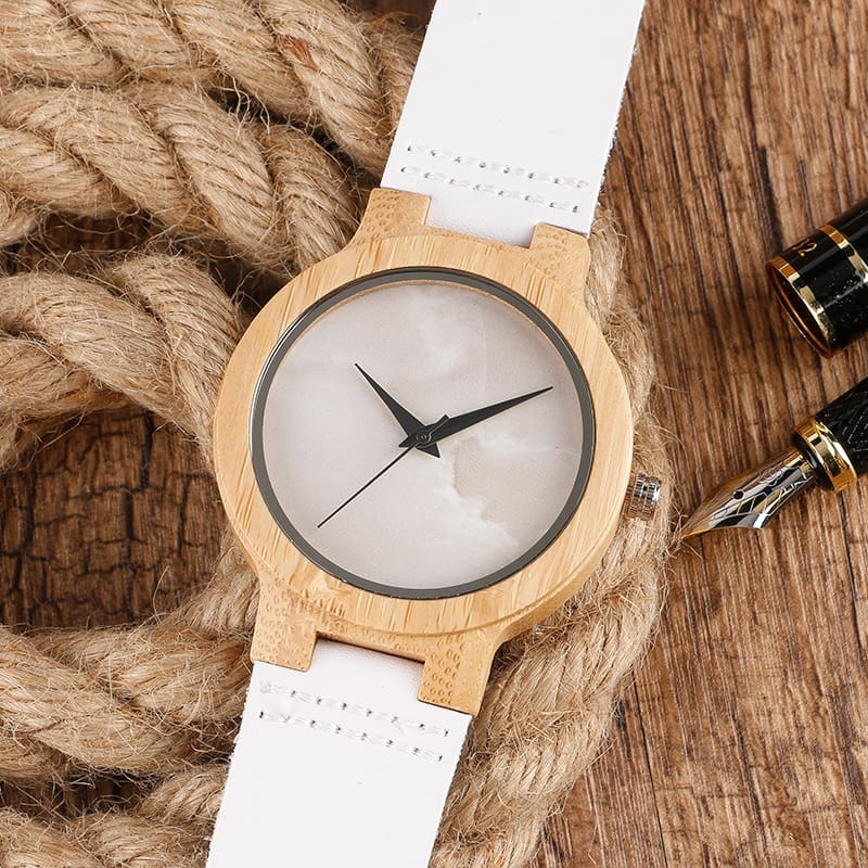 2017 Creative Gifts Handmade Unique Cloud Marble Face Bamboo Quartz Wristwatch Genuine Leather Bangle Nature Wood Men Women Clock (36)
