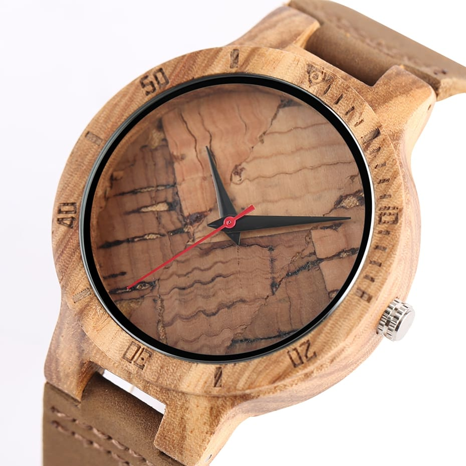 Wooden Watch Men's Unique Cork SlagBroken Leaves Face Dial Zebra Wood Quartz Clock Male Women Genuine Leather Band Wristwatches 2017 Christmas Gifts (18)