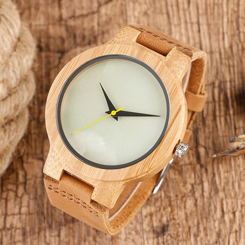 2017 Creative Gifts Handmade Unique Cloud Marble Face Bamboo Quartz Wristwatch Genuine Leather Bangle Nature Wood Men Women Clock (9)