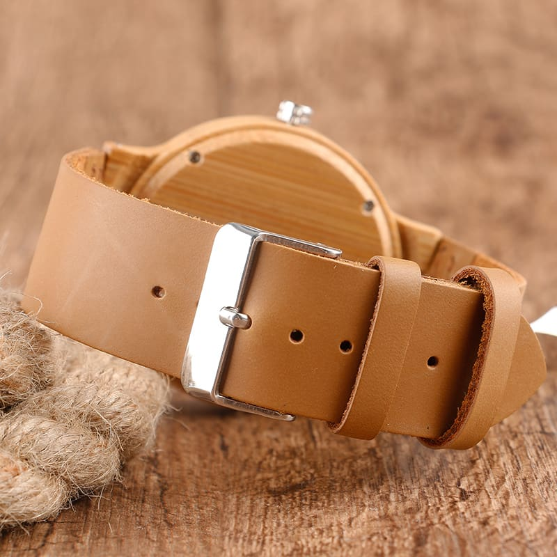 2017 Creative Gifts Handmade Unique Cloud Marble Face Bamboo Quartz Wristwatch Genuine Leather Bangle Nature Wood Men Women Clock (47)