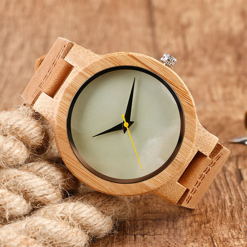 2017 Creative Gifts Handmade Unique Cloud Marble Face Bamboo Quartz Wristwatch Genuine Leather Bangle Nature Wood Men Women Clock (10)