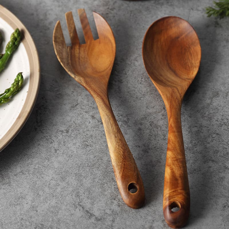Set of 2 Wooden Forks Spoons Serving Premium Acacia Wood Salad Fork & Spoon Set Wood Cutlery Utensil Tableware (6)