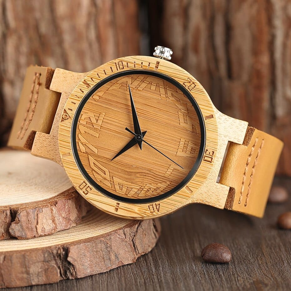 Top Minimalist Natural Bamboo Wood Watch Male Handmade Simple Mens Sports Quartz Wristwatch Arabic Numbers reloj de hombre 2018 (4)