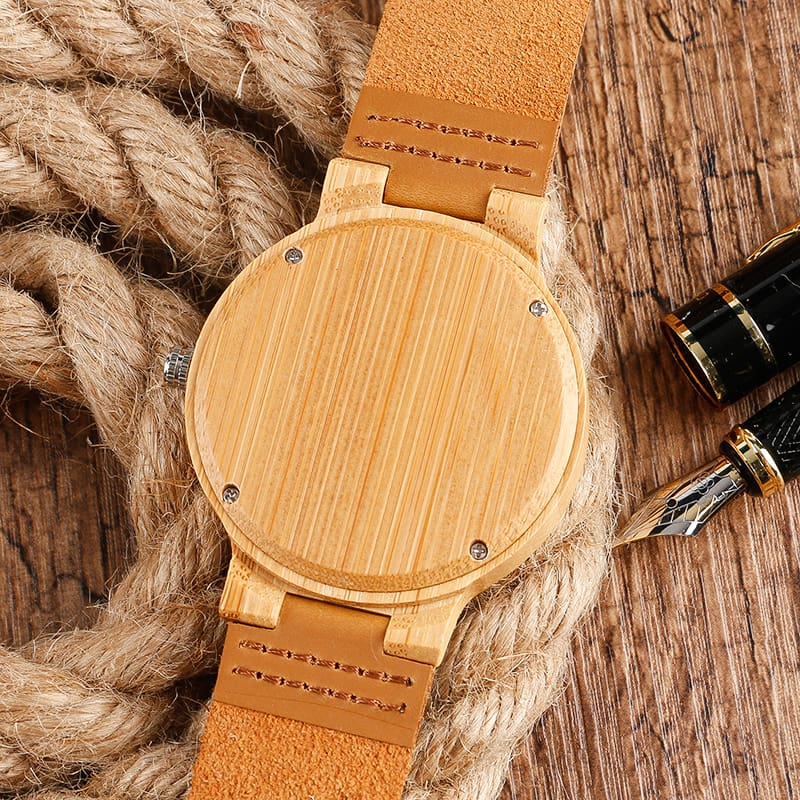 2017 Creative Gifts Handmade Unique Cloud Marble Face Bamboo Quartz Wristwatch Genuine Leather Bangle Nature Wood Men Women Clock (1)