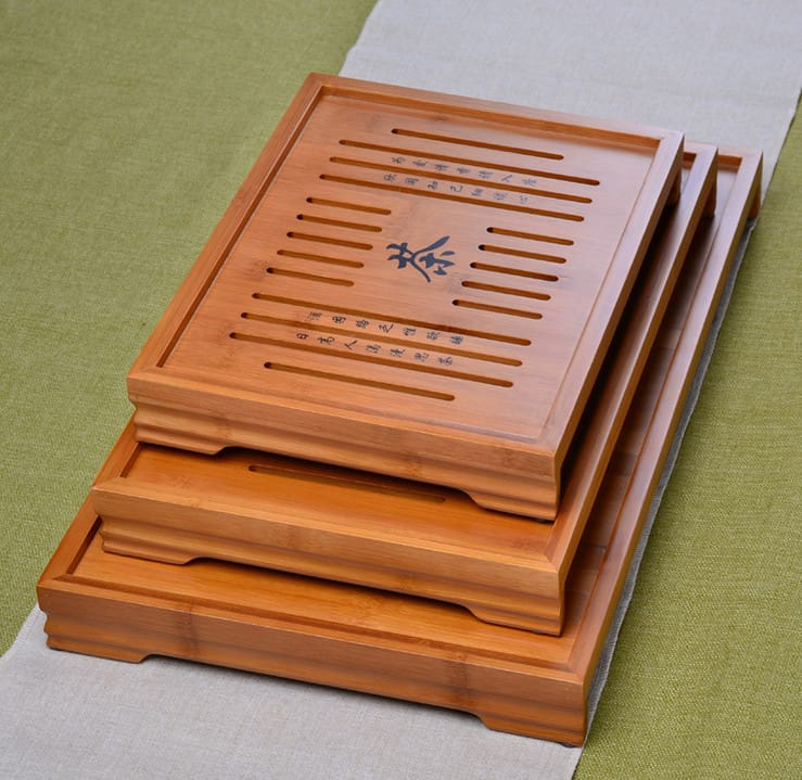 3 Size Natural Wood Bamboo Tray SetT