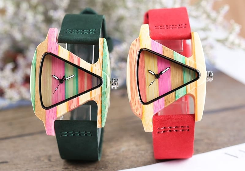 Unique Colorful Wood Watch Creative Triangle Shape Dial Hour Clock Women Quartz Leather Bracelet Watch Women's Wrist Reloj Mujer (23)
