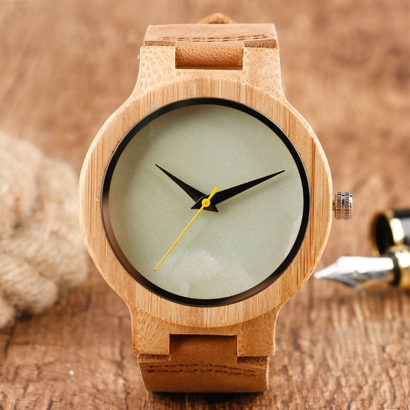 2017 Creative Gifts Handmade Unique Cloud Marble Face Bamboo Quartz Wristwatch Genuine Leather Bangle Nature Wood Men Women Clock (3)