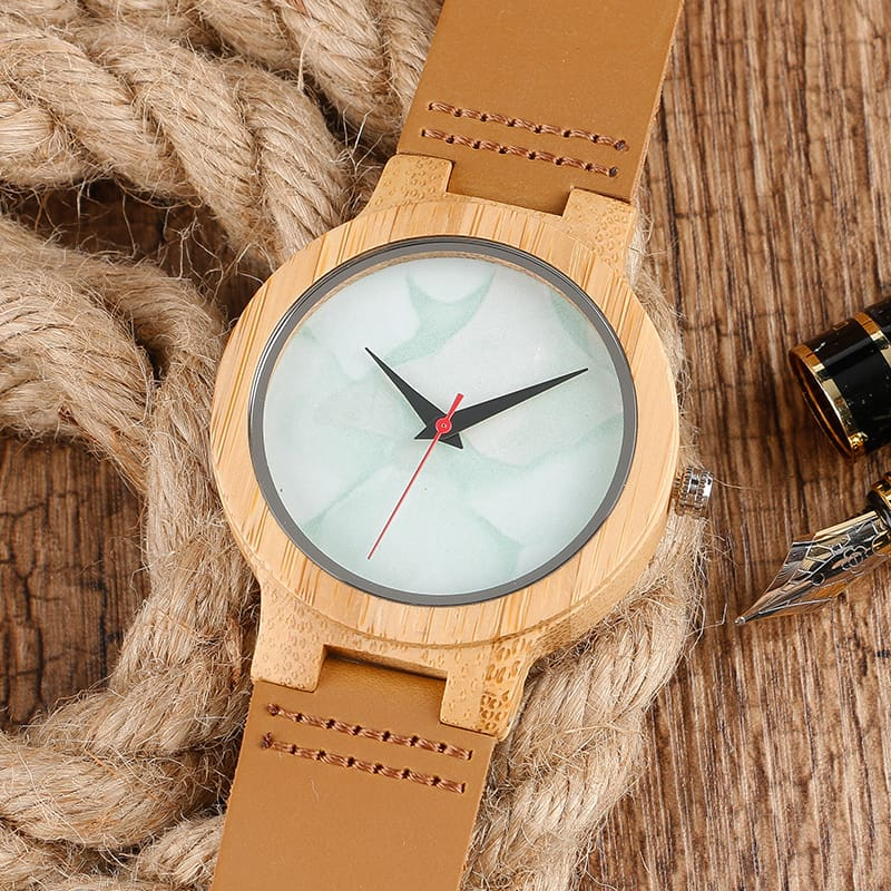 2017 Creative Gifts Handmade Unique Cloud Marble Face Bamboo Quartz Wristwatch Genuine Leather Bangle Nature Wood Men Women Clock (48)