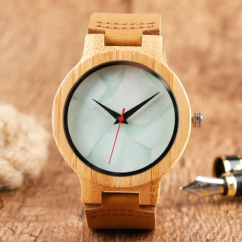 2017 Creative Gifts Handmade Unique Cloud Marble Face Bamboo Quartz Wristwatch Genuine Leather Bangle Nature Wood Men Women Clock (44)