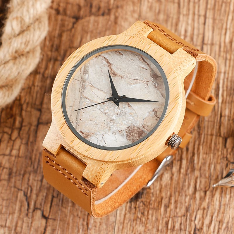 2017 Creative Gifts Handmade Unique Cloud Marble Face Bamboo Quartz Wristwatch Genuine Leather Bangle Nature Wood Men Women Clock (21)