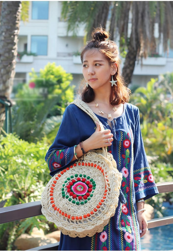 Women Straw Weave Woven Bag Ethnic Woman Shoulder Bag