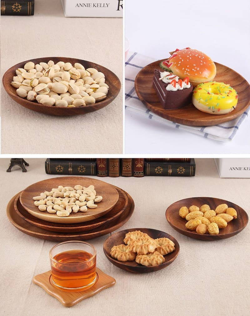 BalleenShiny Natural Wooden Round Plates Dish Tray Handmade Acacia Plate Round Sushi Dish Dessert Dish Soup Dishes Tableware