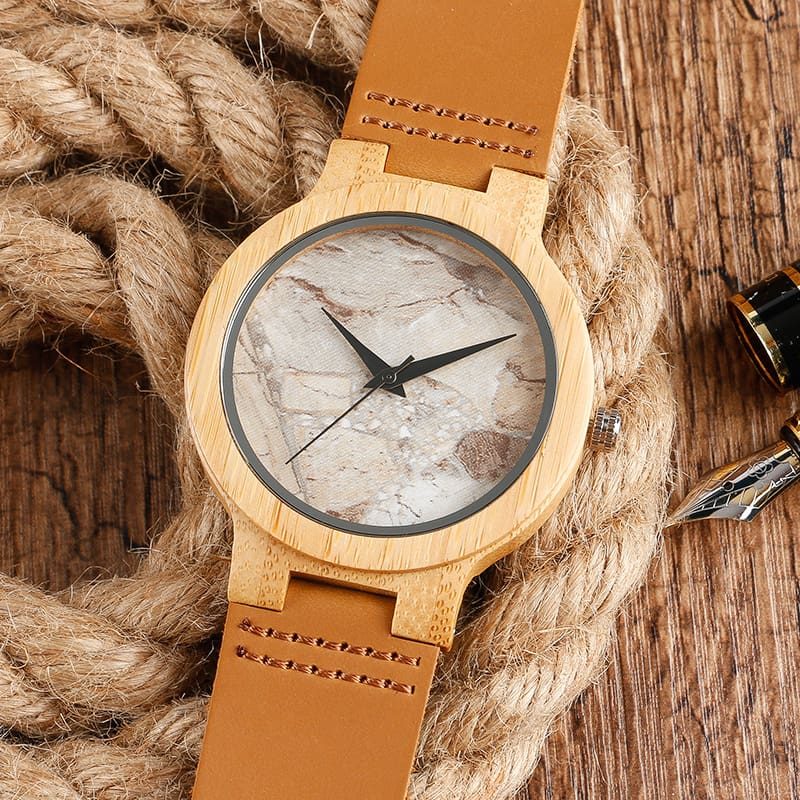 2017 Creative Gifts Handmade Unique Cloud Marble Face Bamboo Quartz Wristwatch Genuine Leather Bangle Nature Wood Men Women Clock (24)