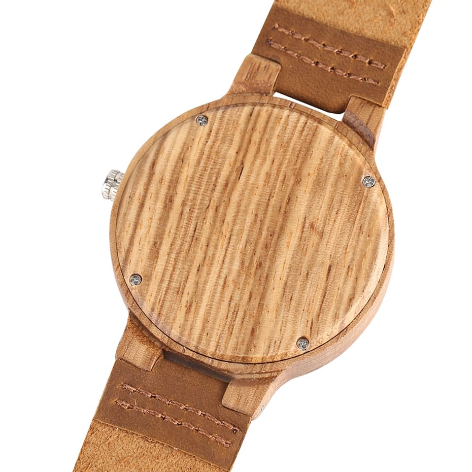 Wooden Watch Men's Unique Cork SlagBroken Leaves Face Dial Zebra Wood Quartz Clock Male Women Genuine Leather Band Wristwatches 2017 Christmas Gifts (5)