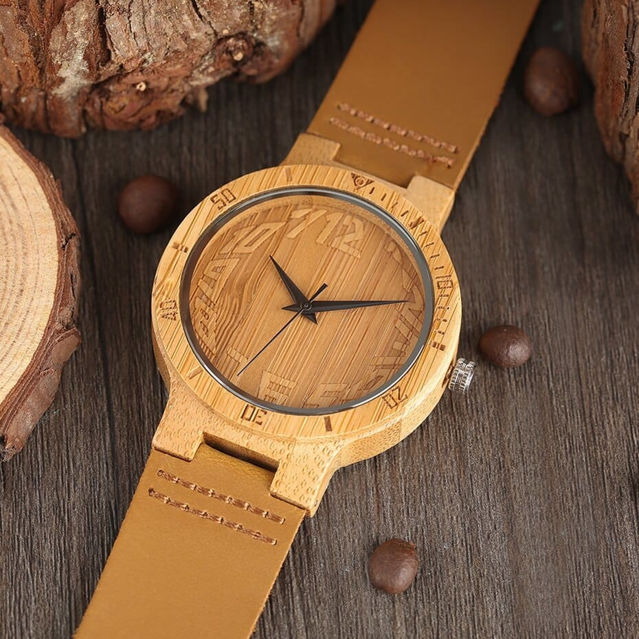 Top Minimalist Natural Bamboo Wood Watch Male Handmade Simple Mens Sports Quartz Wristwatch Arabic Numbers reloj de hombre 2018 (6)