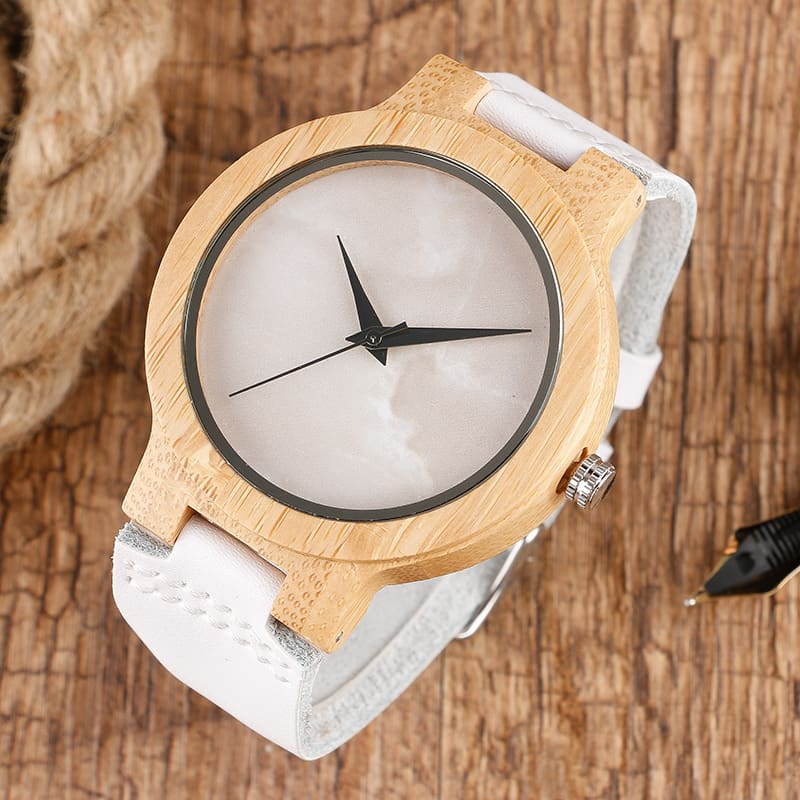 2017 Creative Gifts Handmade Unique Cloud Marble Face Bamboo Quartz Wristwatch Genuine Leather Bangle Nature Wood Men Women Clock (33)