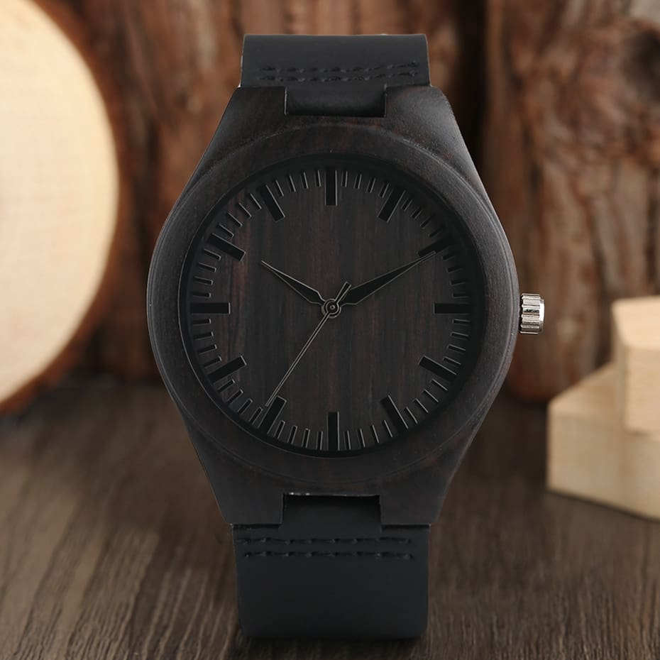 Unique Full Black Men's Ebony Wood Watch Luxury Gifts Light Bamboo Analog Quartz Wristwatch with Genuine Leather Reloj de madera 2017 2018 Christmas Gifts for Men (7)