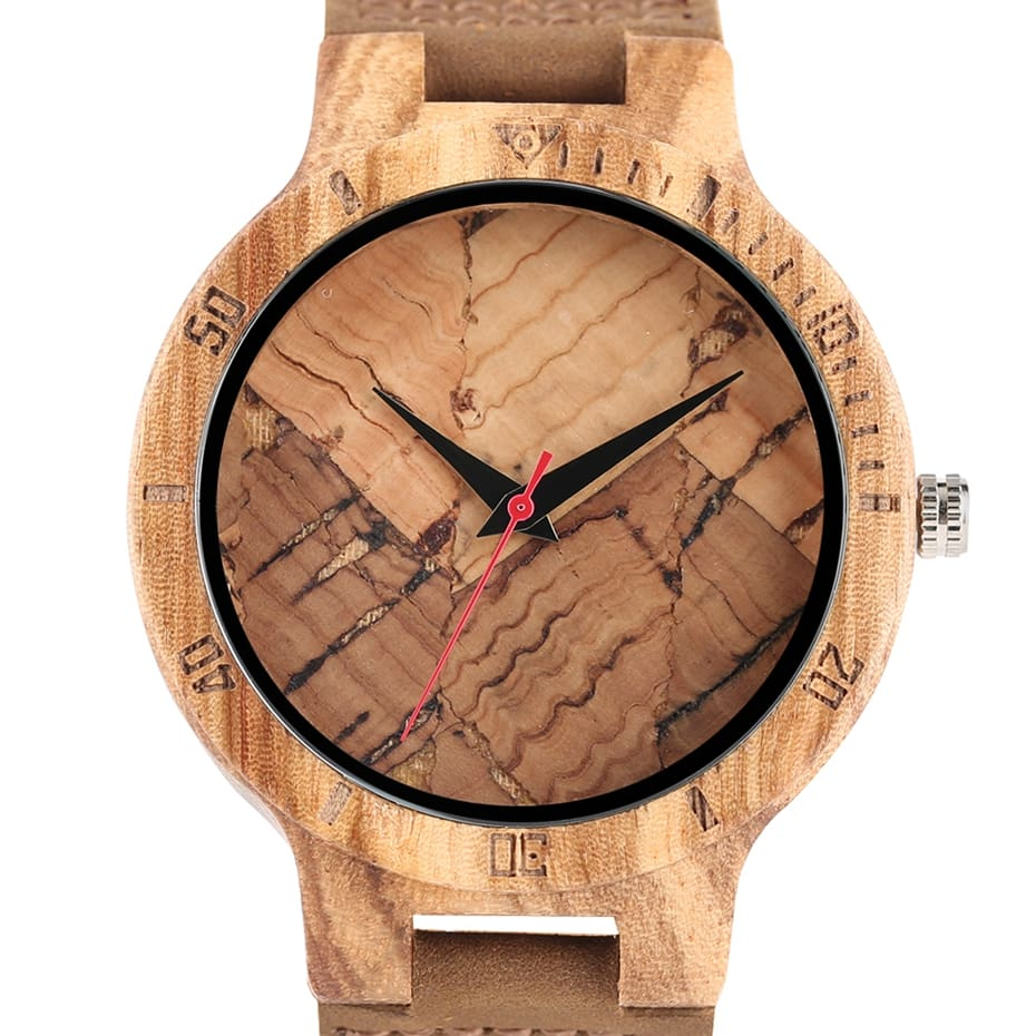 Wooden Watch Men's Unique Cork SlagBroken Leaves Face Dial Zebra Wood Quartz Clock Male Women Genuine Leather Band Wristwatches 2017 Christmas Gifts (19)