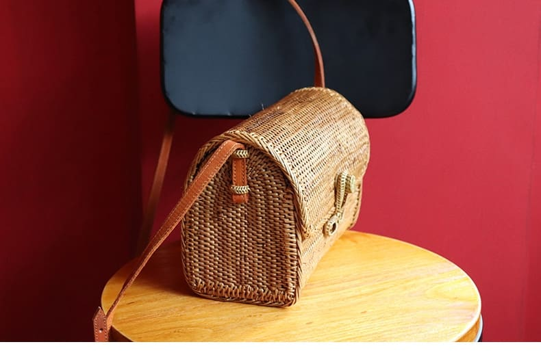 New straw bag bow buckle rattan bag for women